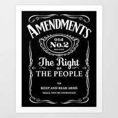 2nd Amendment Whiskey Bottle Art Print