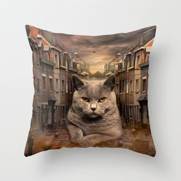 The City Cat Diesel Throw Pillow