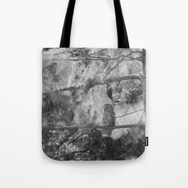 Owl Spirit in the Woods, Shades of Gray Tote Bag