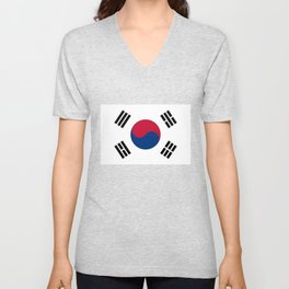 National flag of South Korea, officially the Republic of Korea, Authentic version - color and scale Unisex V-Neck