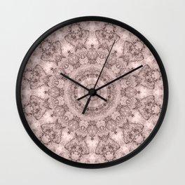 Pink marble kaleidoscope, ornament elements print Wall Clock