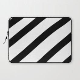 Soft Diagonal Black and White Stripes Laptop Sleeve