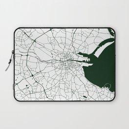 White on Dark Green Dublin Street Map Laptop Sleeve