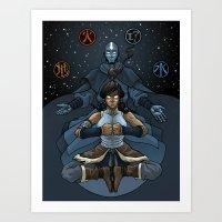 korra Art Prints featuring Korra by Alex Rodway Illustration