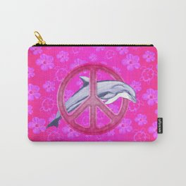 Dolphin Pink Peace Sign And Flowers Carry-All Pouch
