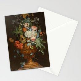 Jan van Huysum - Flowers in a terracotta vase on a pedestal Stationery Cards