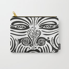 Maori Moko | Tribal Tattoo | New Zealand | Black and White Carry-All Pouch