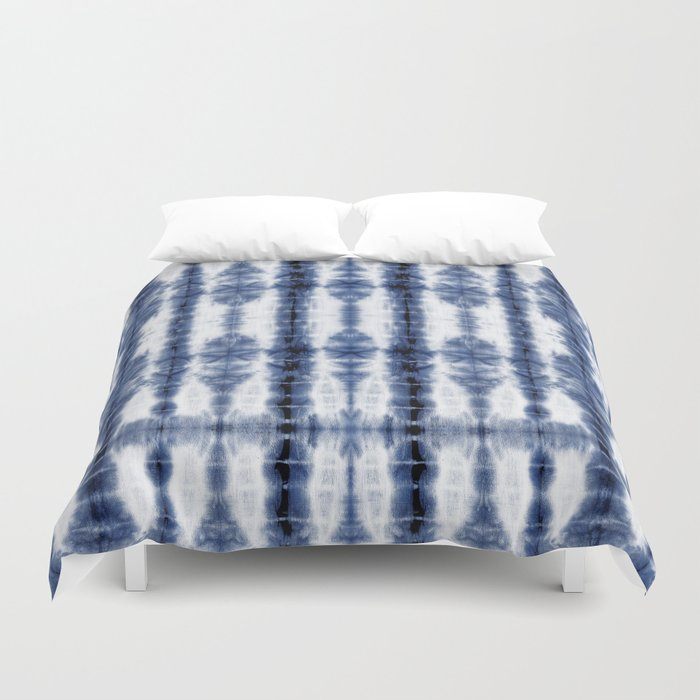 Tiki Shibori Blue Duvet Cover