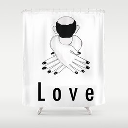Love . Woman Hugging and Man Shower Curtain