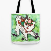 okami Tote Bags featuring Amaterasu from Okami 01 by Jazmine Phillips