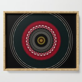 Modern Black White and Red Mandala Serving Tray