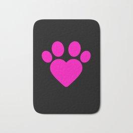 Cute Heart Paw Kawaii Print design Funny Love Gift Bath Mat