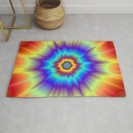 Blasted Blue Red and Yellow Rug