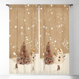 Primitive Country Christmas Tree Blackout Curtain