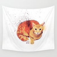 ginger Wall Tapestries featuring Ginger Cat by Caroline Fogaça