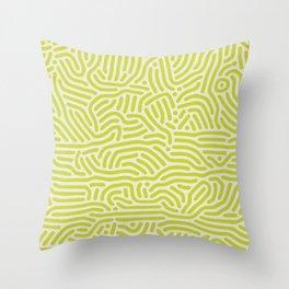 Chartreuse maze pattern Throw Pillow