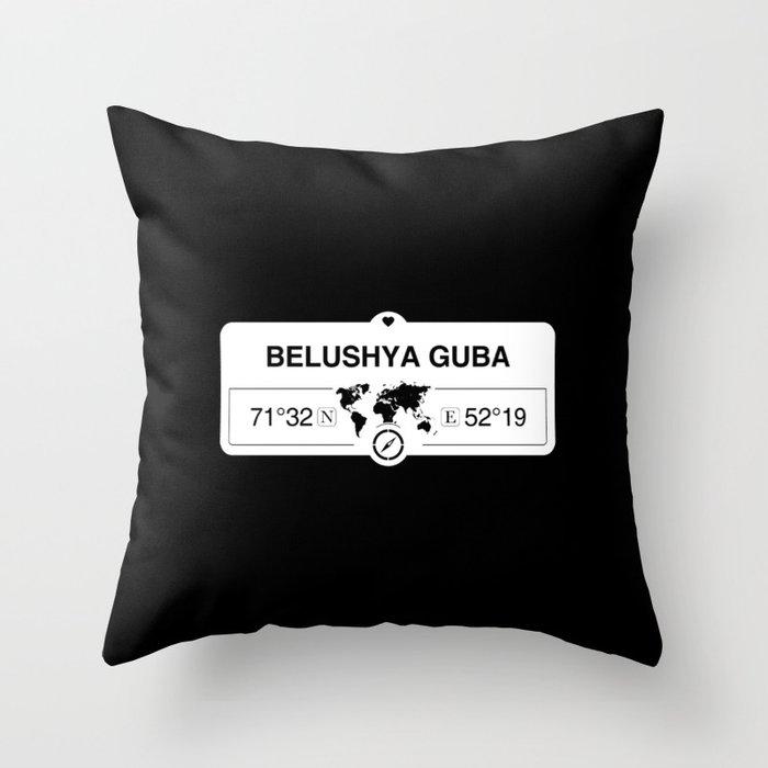 Belushya Guba Arkhangelsk Oblast with World Map Coordinates Throw Pillow