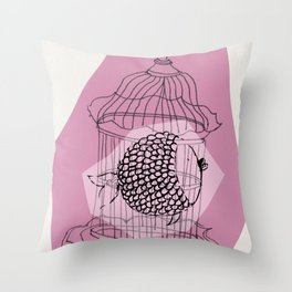 Fishy in Cage Throw Pillow