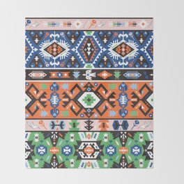 Tribal chic seamless colorful patterns Throw Blanket