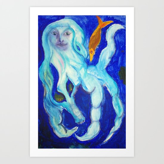 Blue Mermaid Surreal Watercolor Painting Fine Art by Garden Of Delights Art Print