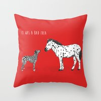 bad idea Throw Pillows featuring bad idea by Balazs Solti