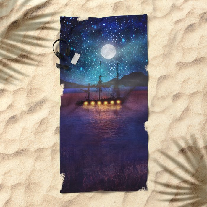 The lights and the Silent Water Beach Towel