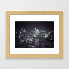 New York Skyline (Night) Framed Art Print