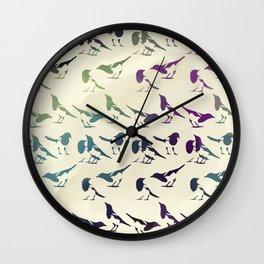 Magpies Repeating Pattern Wall Clock