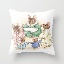 Many Mice Go 'Round Throw Pillow