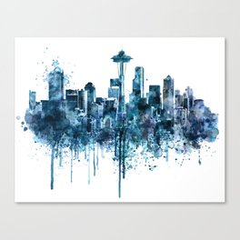 Seattle Skyline monochrome watercolor Canvas Print