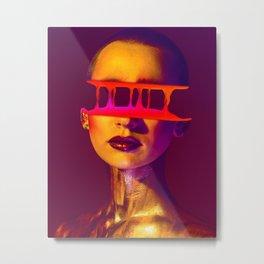 Half Face Glitch poster (gradient and liquid) Metal Print