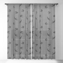 Black Flying Birds Seamless Pattern on Dark Grey background Sheer Curtain