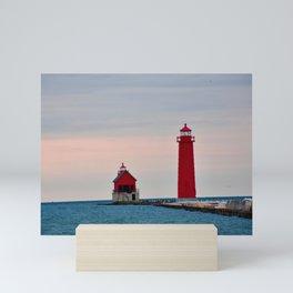 Red Lighthouse on Lake Michigan Mini Art Print