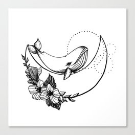 Whale on the Moon Canvas Print