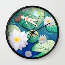 Girl Lay On Lotus Wall Clock