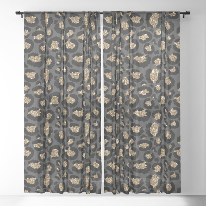 Black Gold Leopard Print Pattern Sheer Curtain By Nlmiller07art