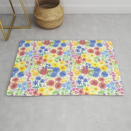 Floral watercolor pattern white Rug