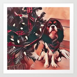 Cavalier King Charles Spaniel Christmas Art Print
