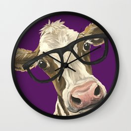 Purple Glasses Cow, Cute Up Close Cow Wall Clock