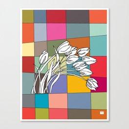 Tulips on Retro Mid Century Palette Background Canvas Print