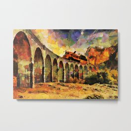 Train crossing the stone bridge Metal Print