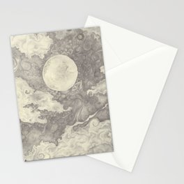 Moon black and white Stationery Cards