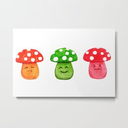 funny mushroom watercolor painting Metal Print