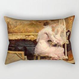 Pascal Dagnan-Bouveret - Watercolourist in the Louvre Rectangular Pillow