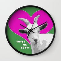 totes Wall Clocks featuring Totes Ma Goats Pink by BACK to THE ROOTS