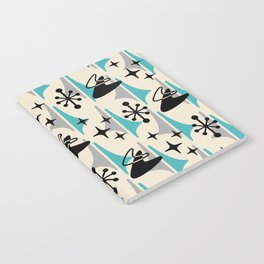 Mid Century Modern Cosmic Boomerang 726 Black Turquoise and Gray Notebook