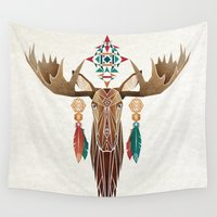 moose Wall Tapestries featuring moose by Manoou