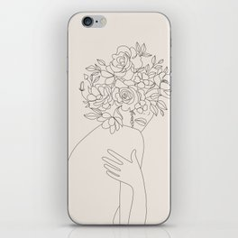 Woman with Flowers Minimal Line III iPhone Skin