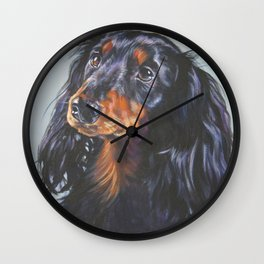 long haired Dachshund art portrait from an original painting by L.A.Shepard Wall Clock