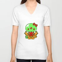 metroid V-neck T-shirts featuring Hello Metroid by Marshu